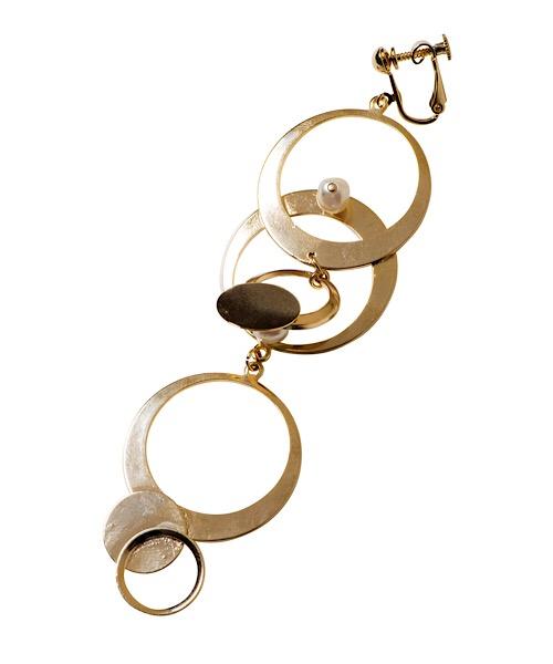 Long Hoop Pierced Earrings / gold