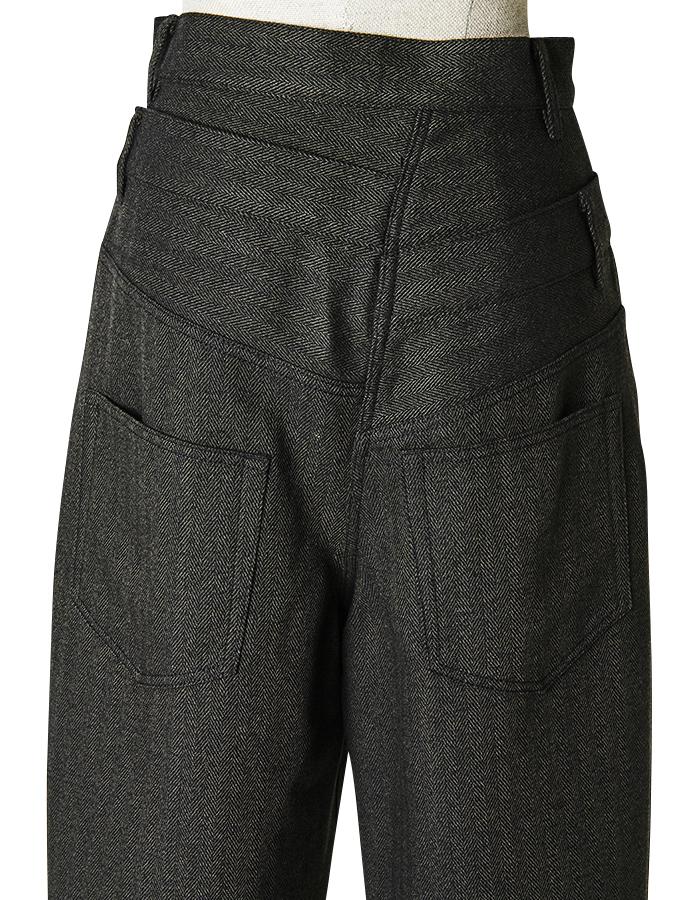 Double Belt Pants / dark brown