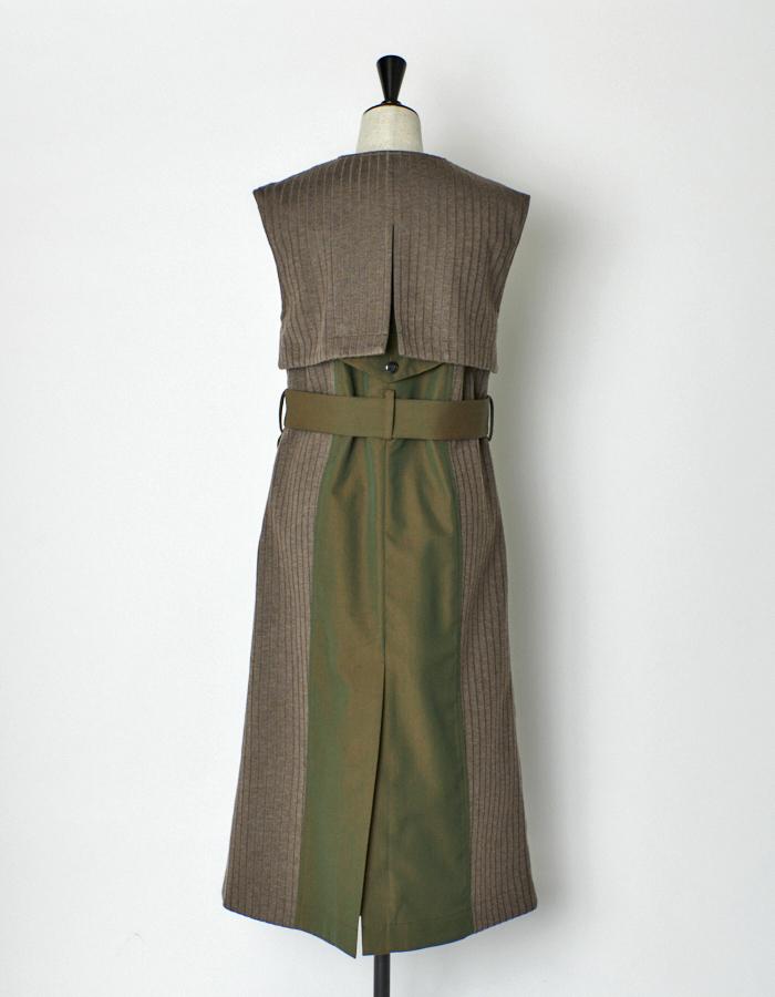 Knit Bonding Long Vest / khaki