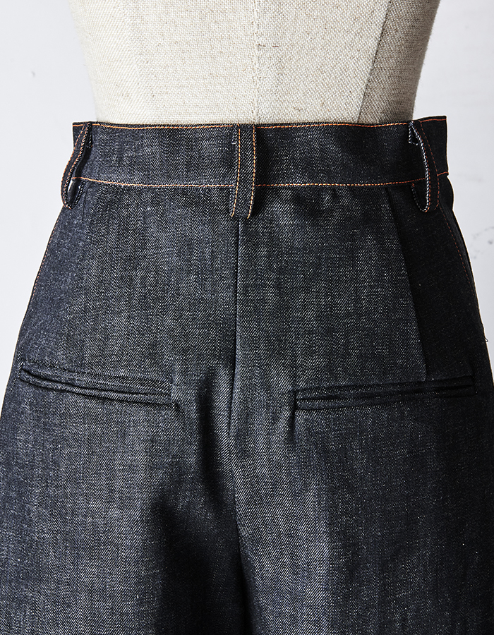 Stitch Denim Form Pants / orange