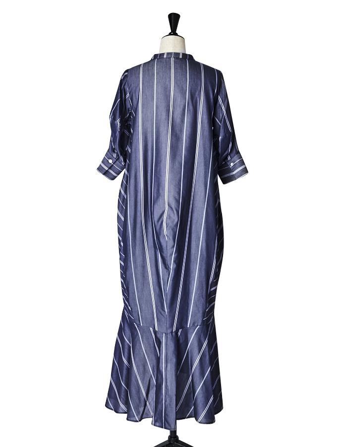 Stripe Silk Cotton One-piece / navy
