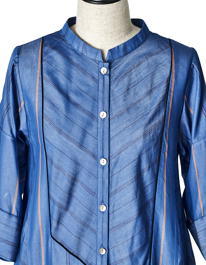 Stripe Silk Cotton One-piece / blue