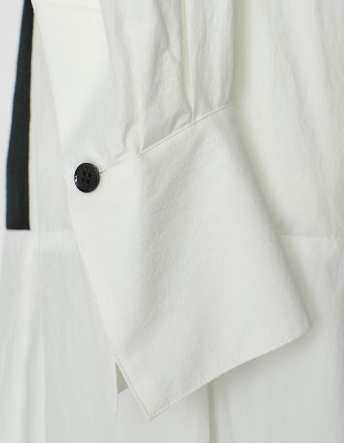 Stand Collar Bonding Shirt Dress / black
