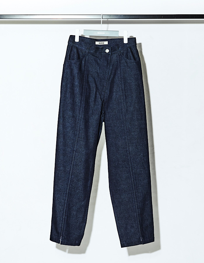 Center Zip Denim Pants / indigo