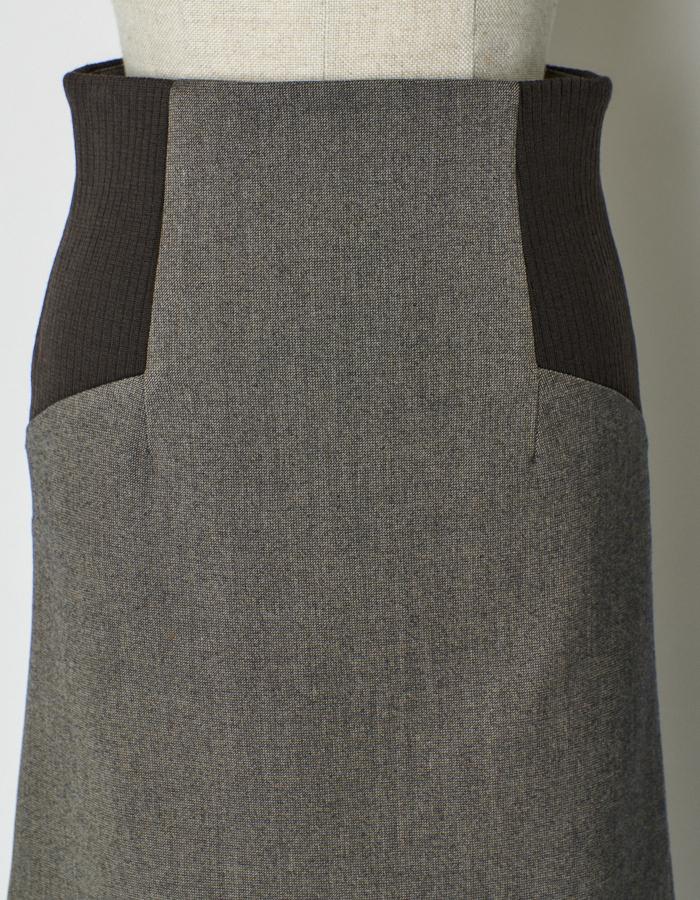 Knit Bonding Docking Skirt / brown