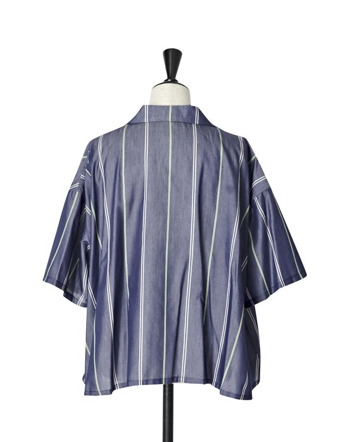 Stripe Silk Cotton Shirt / navy