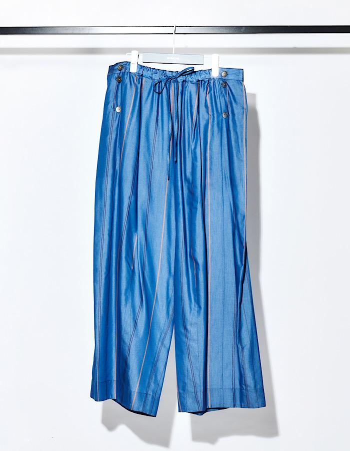 Stripe Silk Cotton Wide Pants / blue