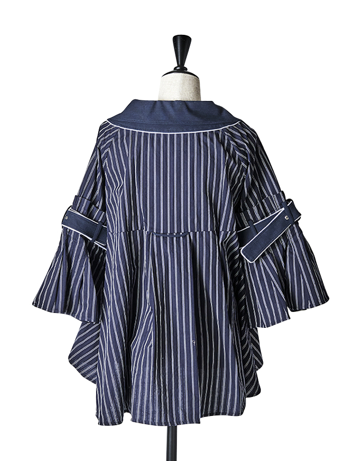 Stripe Belt Blouse / navy