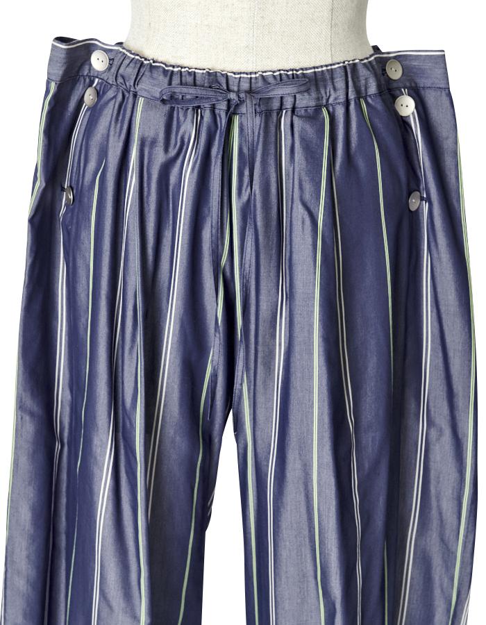 Stripe Silk Cotton Wide Pants / navy