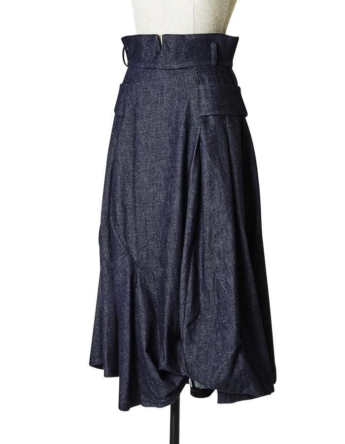 Denim Ballon Skirt / indigo