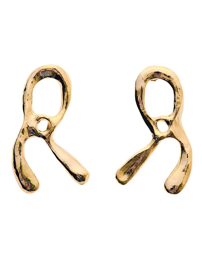 R Letter Earrings / gold