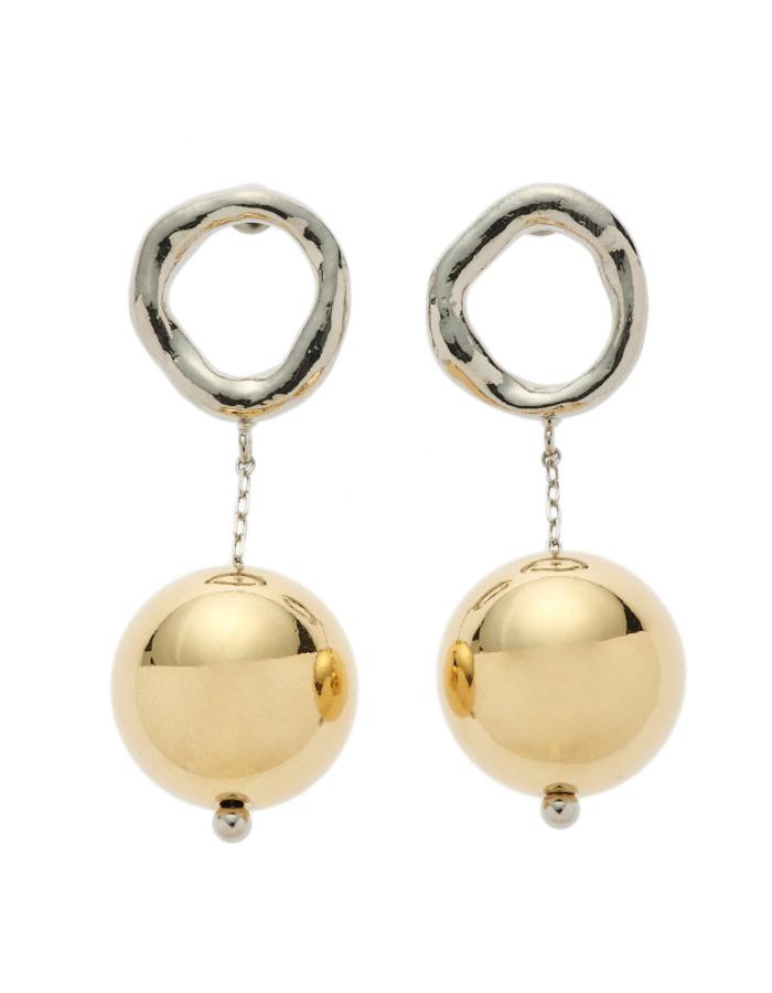 Big Sphere Pierced Earrings / gold