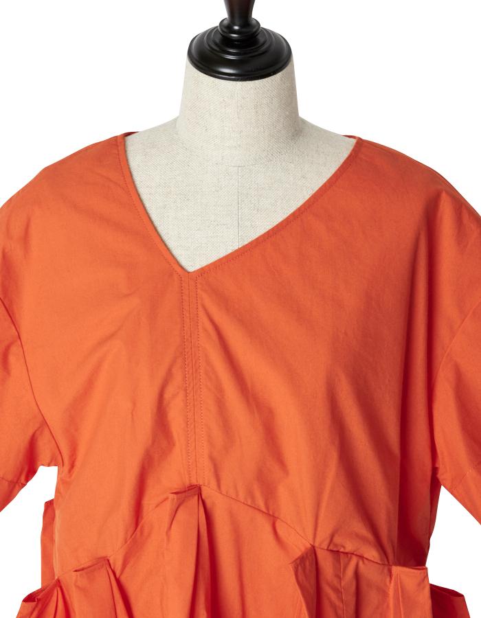 Back Line Print Blouse / orange