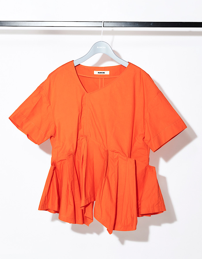 Back Line Print Blouse / orange