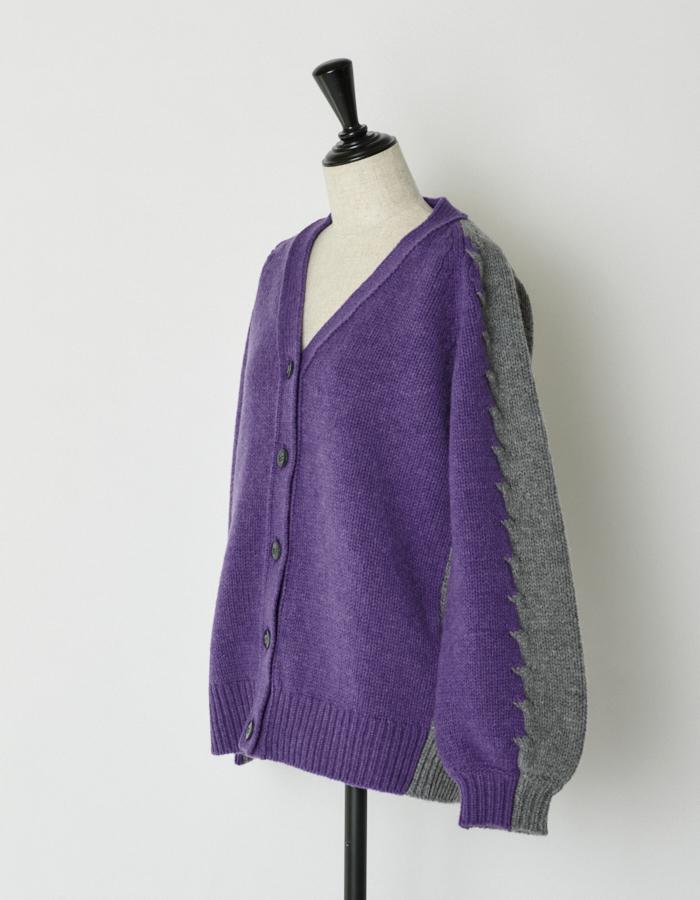 Bi-color Cardigan / purple