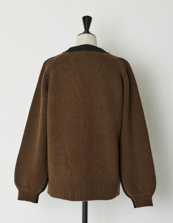Bi-color Cardigan / black