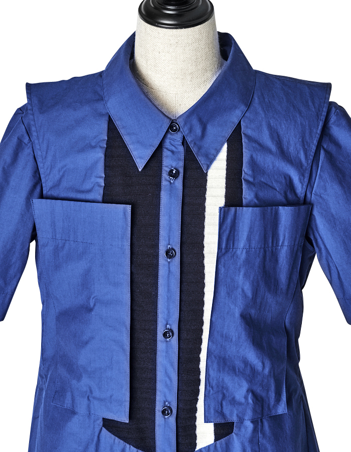 Knit Bonding Shirt One-piece / blue