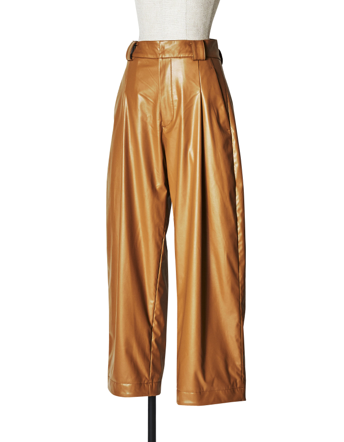 Fake Leather Pants / camel
