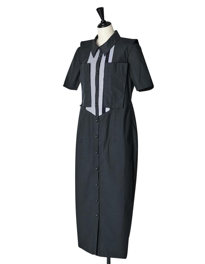 Knit Bonding Shirt One-piece / black