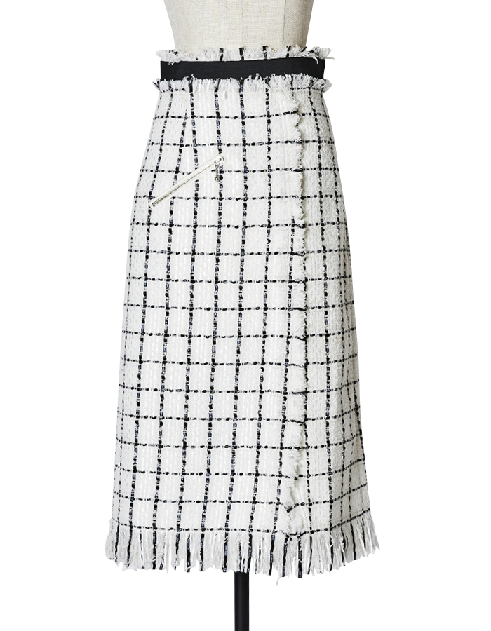 Tweed Skirt / white