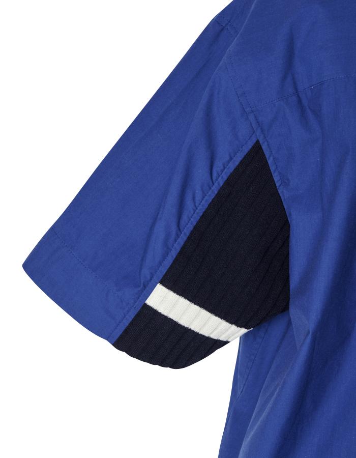 Knit Bonding Stand Collar Shirt / blue