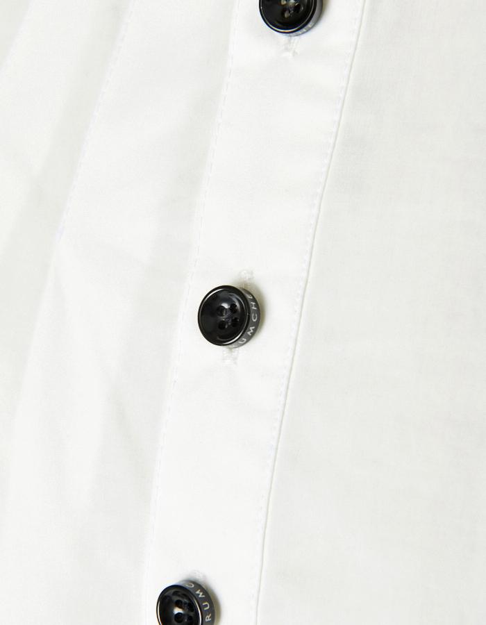 Knit Bonding Stand Collar Shirt / white