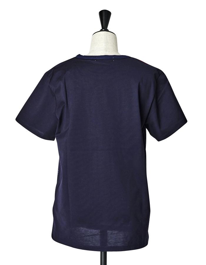 Check Line Print T-shirt / navy