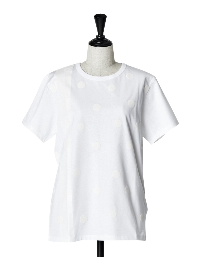 Dot Rubber Print T-shirt / white