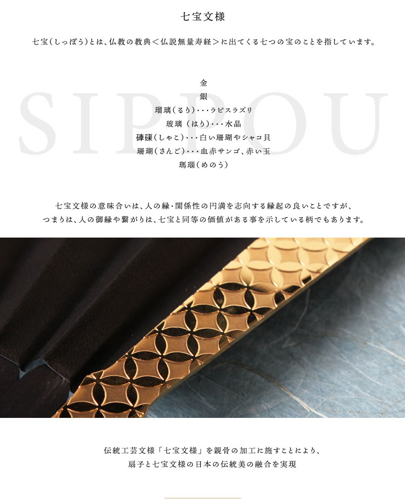SUEHIRO SENSU 七宝 GOLD (末広扇子 ゴールド レザーファン 牛本革使用 本革扇子 高級扇子)