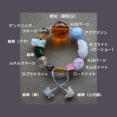 翡翠ピーショーブレスレット 中国結び 富と健康の守り神 ネフライト 琥珀彫刻大玉 K18パーツ W5005 サイズM 送料無料