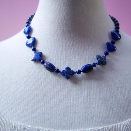 ラピスラズリーネックレス オリジナルデザイン 手作り一点物  宝石専門店が作る天然石ネックレス 上質 大人仕様 W6000 送料無料