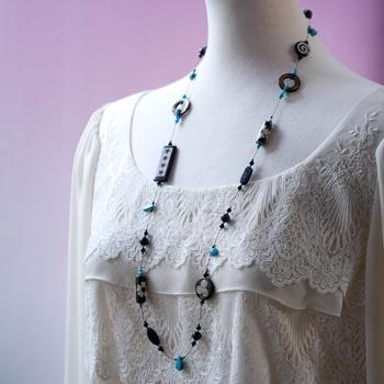 象刻・トルコ石ロングネックレス オリジナルデザイン 手作り一点物 W5104  宝石専門店が作る天然石ネックレス 上質 大人仕様  送料無料