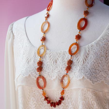 カーネリアンロングネックレス オリジナルデザイン 手作り一点物  宝石専門店が作る天然石ネックレス 上質 大人仕様 W6002 送料無料