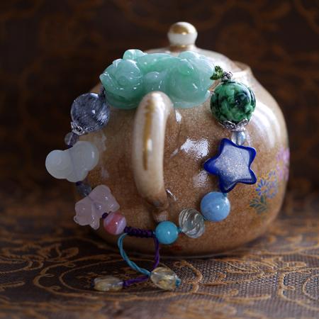 翡翠ピーショーブレスレット 中国結び 富と健康のお守り 翡翠 アップルグリーン 天然石  W5020 MLサイズ 送料無料