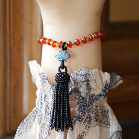翡翠蓮の花・カーネリアンブレスレット 伸縮ゴム製 フリンジ付き W5024 小さめのMサイズ 送料無料
