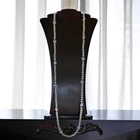プレナイトロングネックレス オリジナルデザイン 手作り一点物  宝石専門店が作る天然石ネックレス 上質 大人仕様 W6005 送料無料(レターパック+)