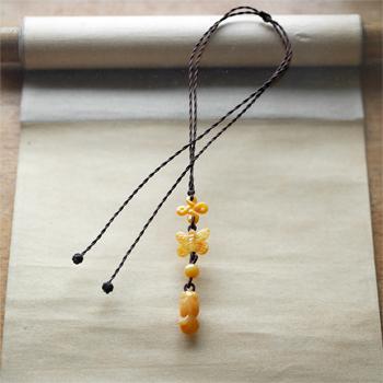 黄翡翠ネックレス W5167 フリーサイズ 一点物 送料無料