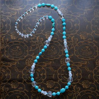 アマゾナイトロングネックレス オリジナルデザイン 手作り一点物  宝石専門店が作る天然石ネックレス 上質 大人仕様 W6007 送料無料