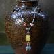 琥珀ピーショーネックレス 中国結び 富と健康のお守り W5026 52〜75� 送料無料