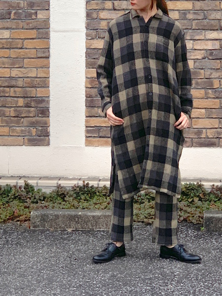 HARROW TOWN STORES/ハロータウンストアーズ  COTTON WAFFLE BLOCK CHECK OVERDYE ONE-UP COLLAR LONG SHIRT ・ INHT2052WC [送料無料]