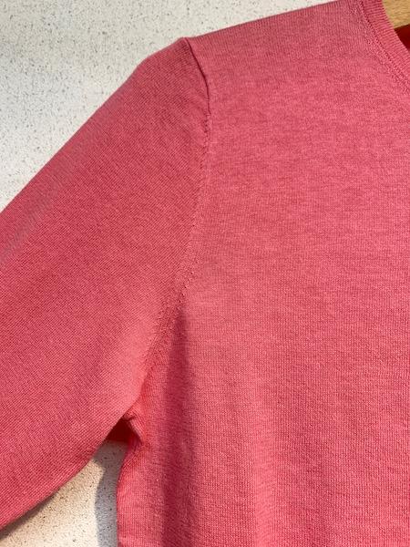 『ゆうパケット対応』 Crespi/クレスピ  リバティークルミボタン 綿麻ニット七分袖カーディガン ・ 104-4003