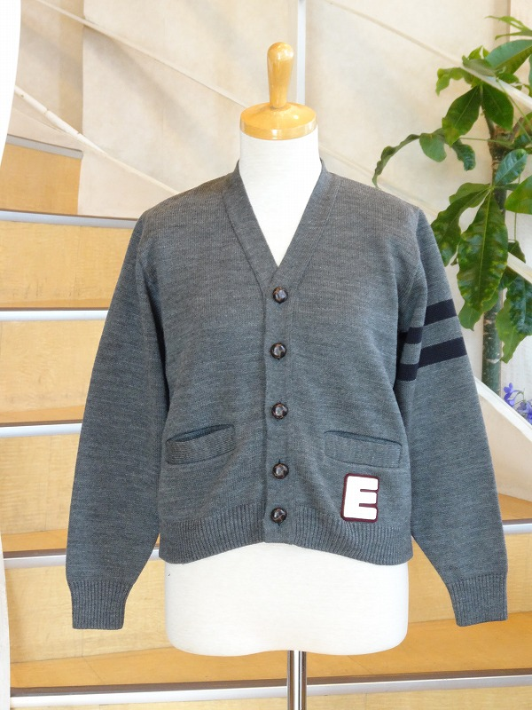 SALE  EASY KNITイージーニット  KIDS CARDIGAN W/LIFT SLEEVE STRIPED W/BUTTONS AND POCKETS WITH EMBLEM