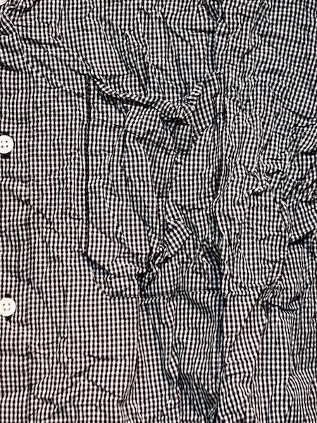Vas-y Lentement/ヴァジー・ラントマン コットンギンガムチェック クルーネック長袖シャツ(しわ加工) ・ NVL1561CW  [送料無料]