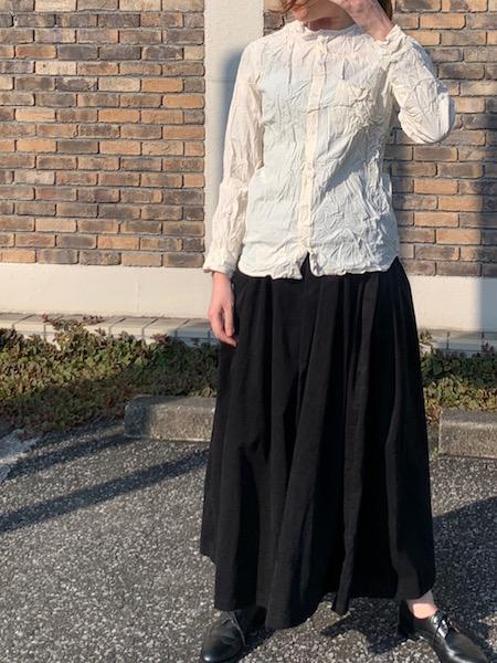 Vas-y Lentement/ヴァジー・ラントマン オーガニックコットン クルーネック長袖シャツ(しわ加工) [送料無料]