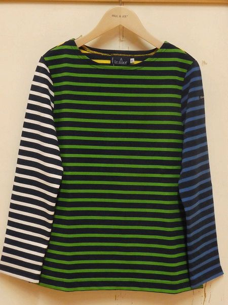 SALE Le minor/ルミノア  14G マルチボーダー長袖バスクシャツ ・ LEF183004
