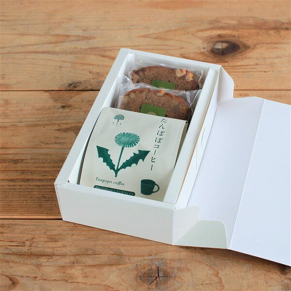 実身美のお茶&パウンドケーキギフトセット(たんぽぽコーヒー&黒糖と胡桃の米粉パウンドケーキ(2カット))