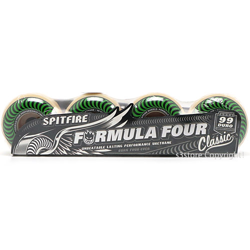 スピットファイヤー フォーミュラ フォー クラシック 【SPITFIRE FORMULA FOUR 99DU CLASSICS】 スケートボード スケボー ウィール パーツ 初心者 ストリート パーク SKATE カラー:White/Green サイズ:52mm/99du