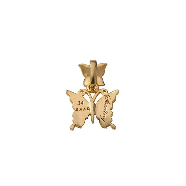 蝶モチーフ シルバー925 K24(24金)ゴールドプレートペンダントトップ