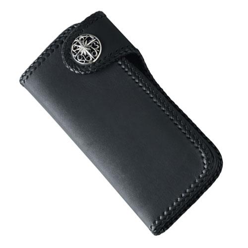 ロングウォレット/革財布 ブラック サドルレザー