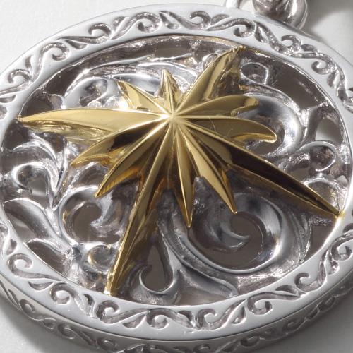 白焼きサンシンボル シルバー925ペンダントトップ K18(18金)ゴールド